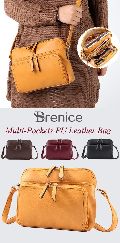 US  33.99 Women Solid Multi-pockets Casual PU Leather Crossbody Bag   WomenBags  CrossbodyBags  BestBags  Multi-pocketsBags 77deb91748c74