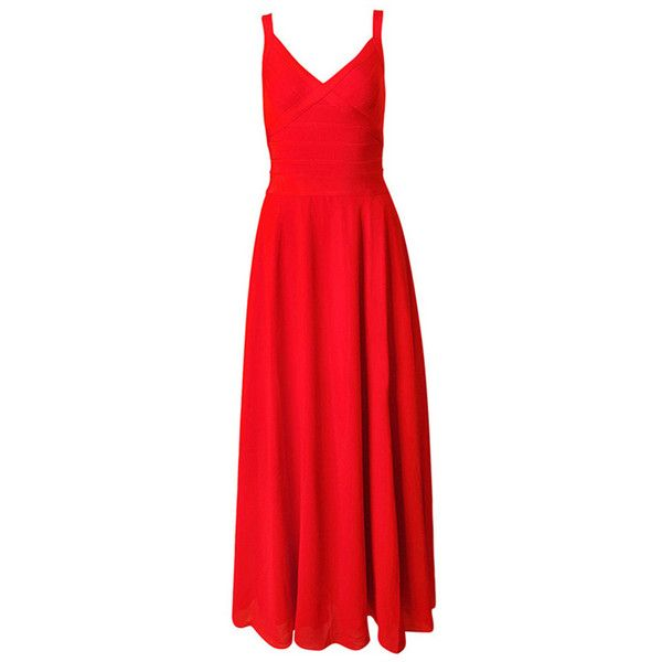 Red Spaghetti Strap Open Back Side Split Party Evening Dress (€150) ❤ liked on Polyvore featuring dresses, open back party dress, night out dresses, red going out dresses, holiday party dresses and red holiday party dress