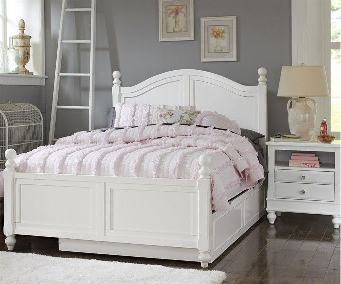 Best Grey Wall Paint And White Headboard With Full Size Trundle Bed Plus Bedding Nightstand