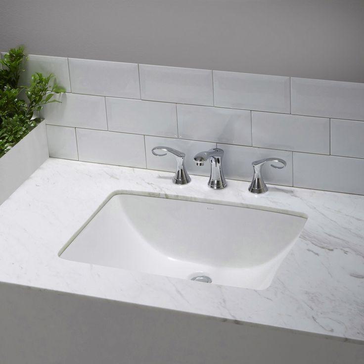 Kraus Elavo Large Rectangular Ceramic Undermount Bathroom Sink In