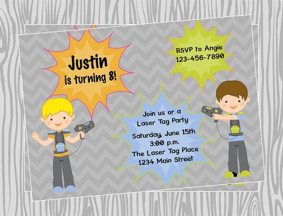 22 best zip line parties images on pinterest zip lining diy boy lasertag birthday invitation coordinating items available stopboris Gallery