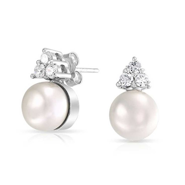 Bling Jewelry CZ Teardrop White Freshwater Pearl Stud Earrings 925 Sterling