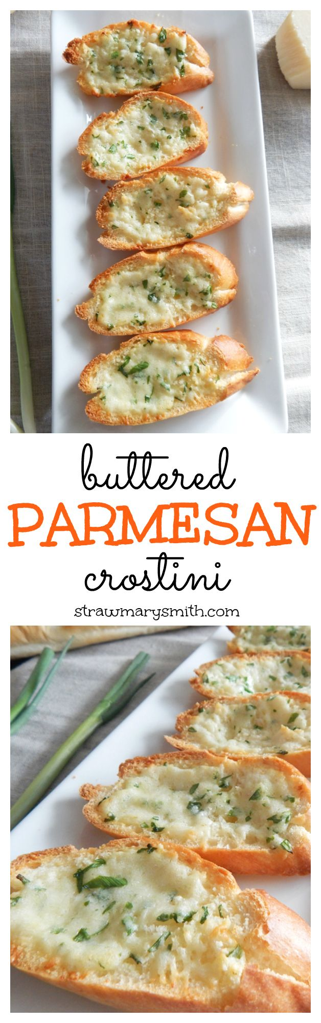 Buttered Parmesan Crostini is a sophisticated appetizer and side dish of crunchy, gooey, cheesy goodness. | strawmarysmith.com