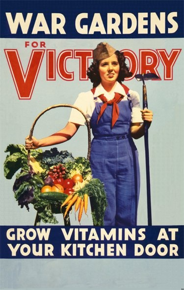 Grow Vitamins At Your Kitchen Door - #Vintage Victory Garden Poster