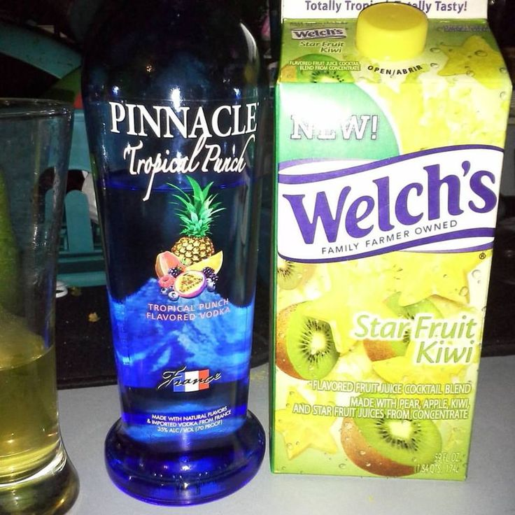 White Gummy Bear Martini Welch's Star Fruit Kiwi  Pinnacle Tropical Punch Vodka Fill shaker with ice add juice and a shot or two of the vodka shake and serve.