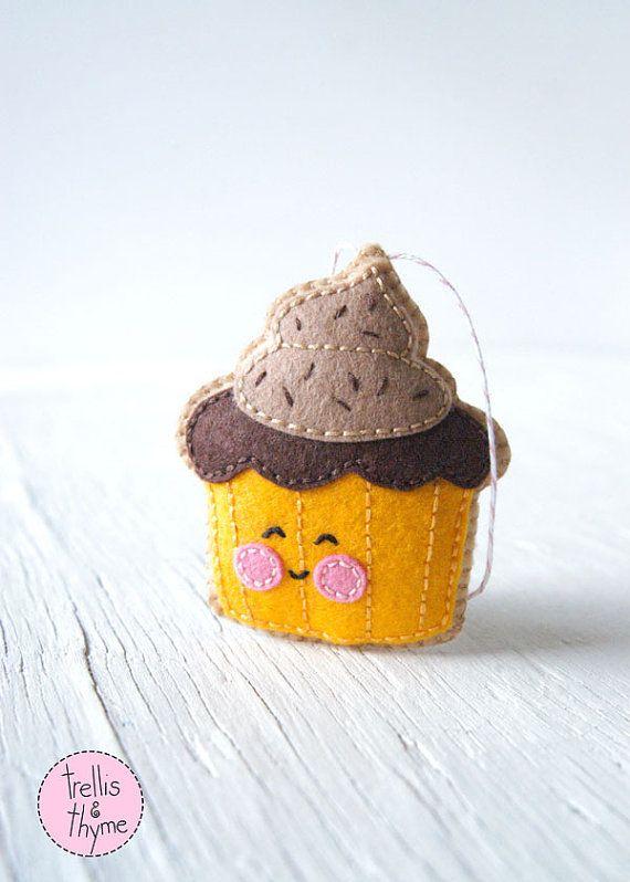 PDF Pattern - Cupcake, Halloween, Thanksgiving, Felt Ornament Pattern, Softie Pattern