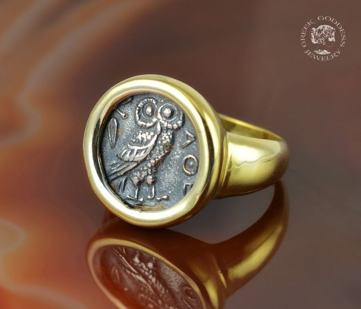 owl golden silver ring, owl ring, owl, silver owl, greek ring, ancient coin ring, greek jewelry, antique ring, antique coin, ancient ring by GreekGoddessJewelry on Etsy