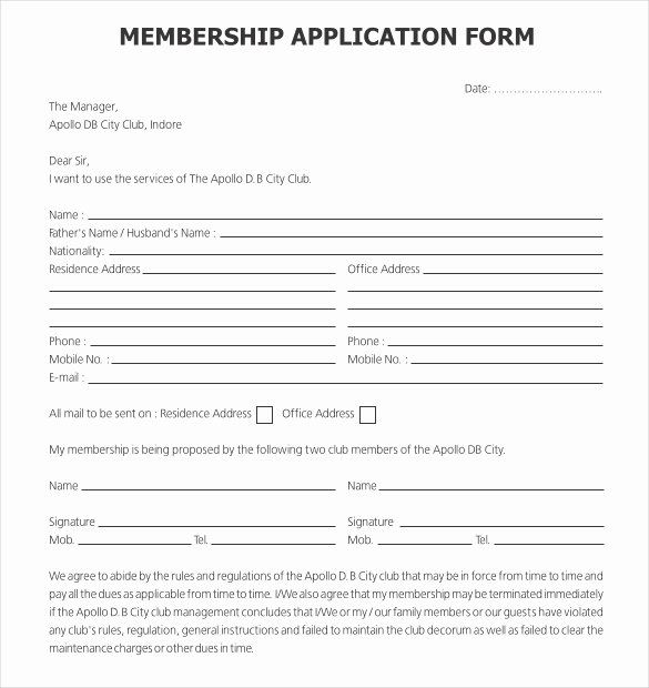Sample Of Membership Form For An Organization Unique 15 Sample Club Application Templates Pdf Doc Templates Application Form Booster Club Membership