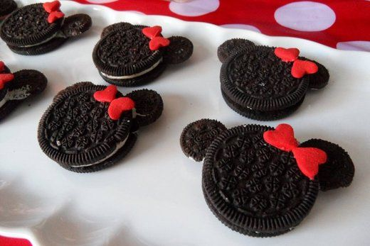 Minnie Mouse cookies ~ mini Oreos dipped in chocolate to attach as 'ears' and two red heart sprinkles make bow ~ Disney