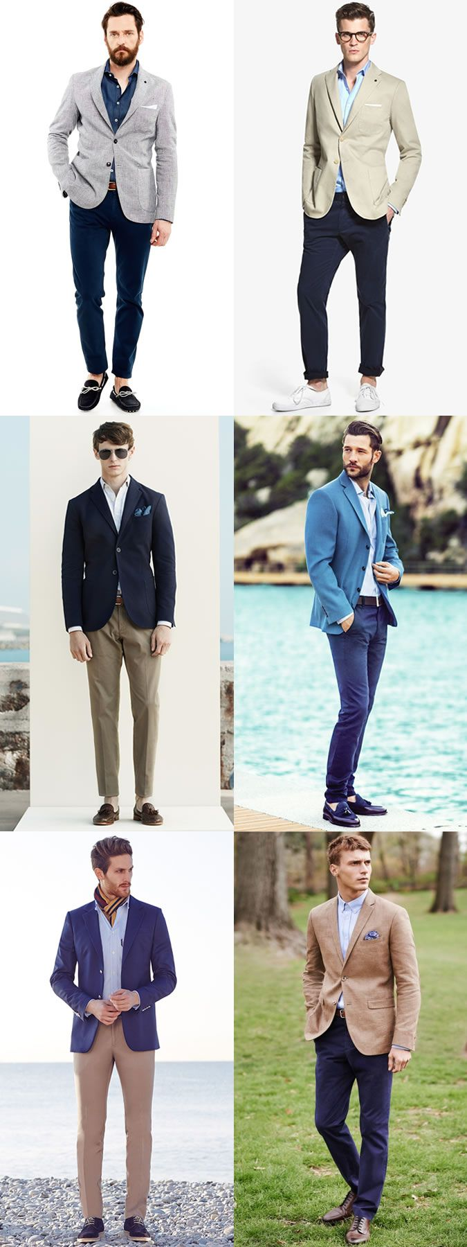 Men's Chinos, Oxford Shirt and Blazer Outfit Inspiration Lookbook