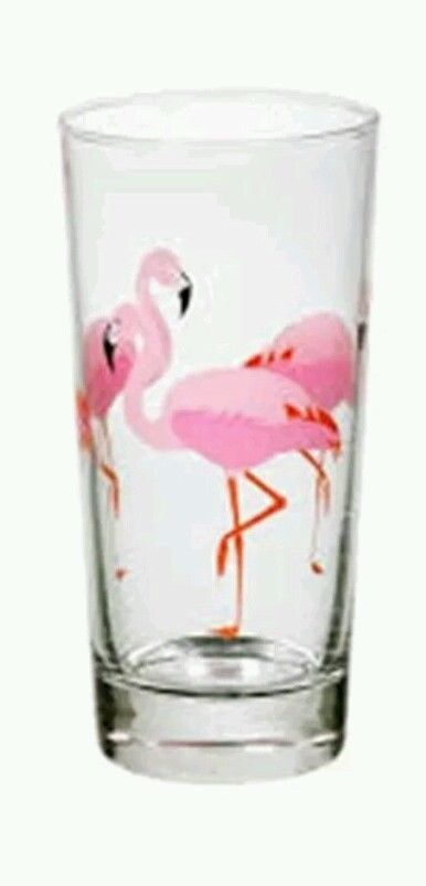 4 x Flamingo Highball Glasses - Rum - Tiki - Kitsch - 50s Style - Rockabilly #Unbranded