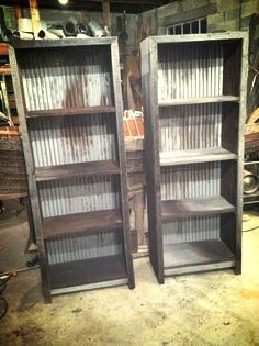Reclaimed Barn Wood And Corregated Metal Shelves