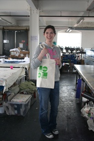 Maeve with finished bag - Image showing the bag with the screen printed logo.