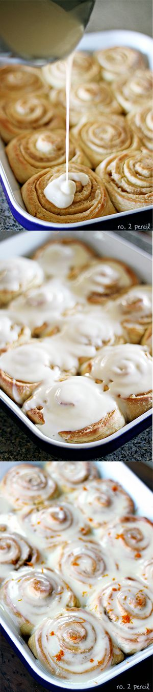 Cake Mix Orange Sweet Rolls ~ Says: Tender, sweet rolls with fresh orange zest in the dough smell absolutely heavenly baking. Drench them in my Orange Cream Cheese Glaze for an amazing sweet roll, perfect for breakfast or brunch. These Orange Sweet Rolls made with yellow cake mix are absolutely delicious!