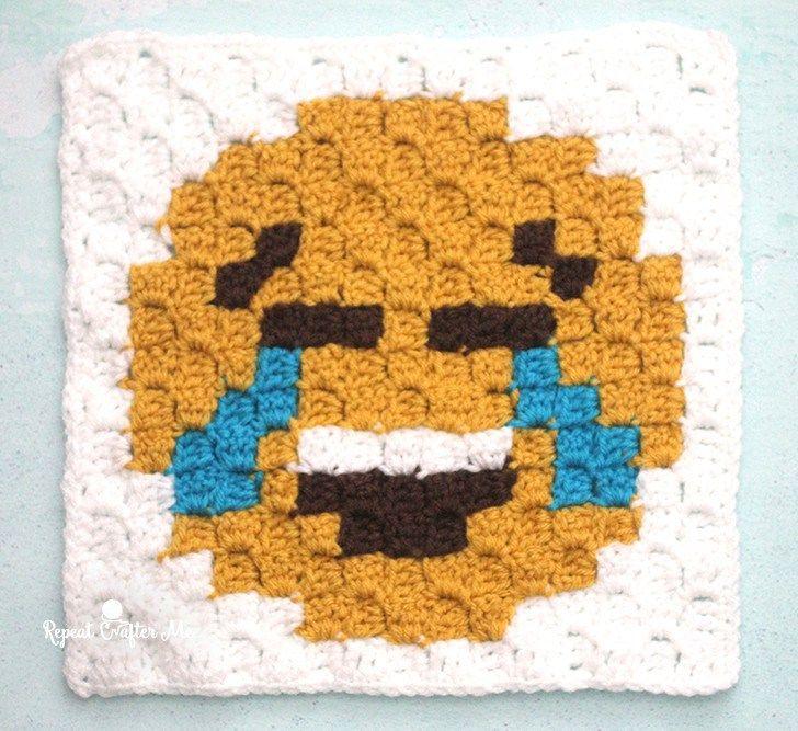 Tears of Joy Emoji C2C Crochet Square and Pixel Graph