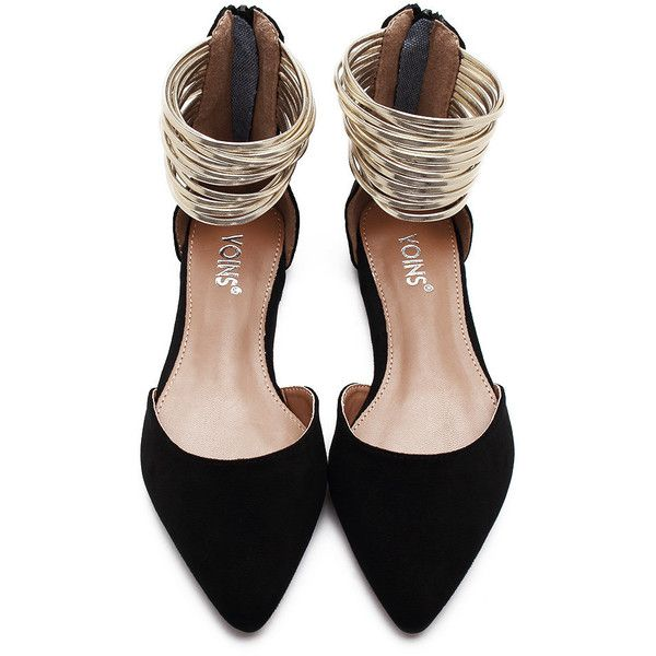Yoins Black Suede Look Zip Closure Pointed Toe Flat Sandals With Gold... (2,240 INR) ❤ liked on Polyvore featuring shoes, sandals, black flat sandals, gold flat sandals, black suede shoes, gold sandals and black flat shoes