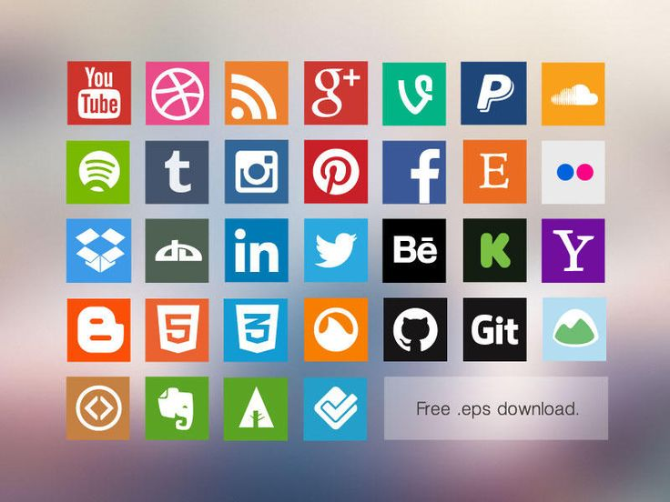 Flat icons, free, veectzy, social icons. #free #vectors #icons