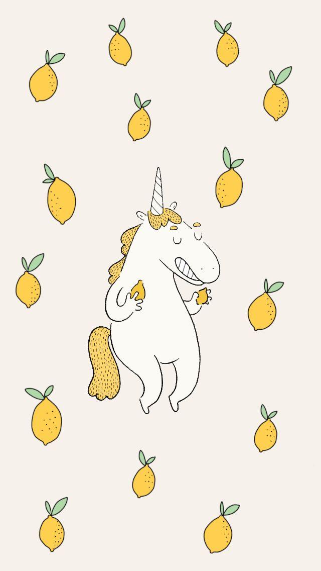 Funny Lemon Unicorn iPhone Wallpaper Home Screen @PanPins