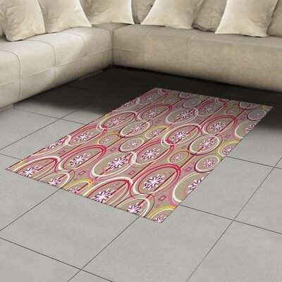 East Urban Home Ambesonne Floral Area Rug, Modern Retro Mix Abstract With Sketchy Circles Creative Swirls Artwork, Flat Woven Accent Rug For Living Room Bedroom Dinin