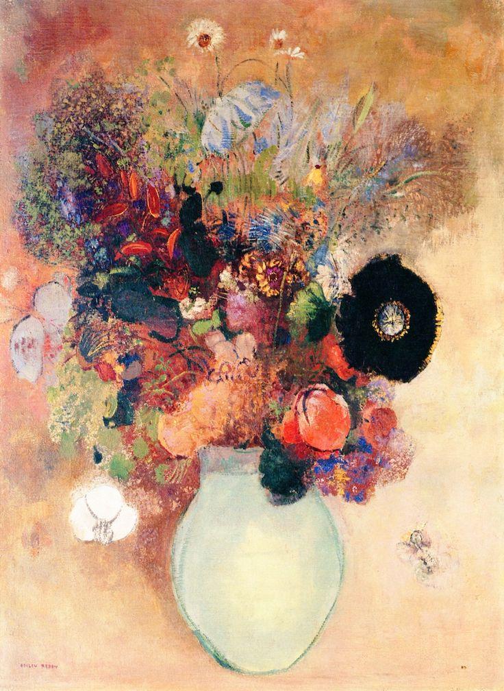 ❀ Blooming Brushwork ❀ - garden and still life flower paintings - Odilon Redon | Black Poppy, c.1910