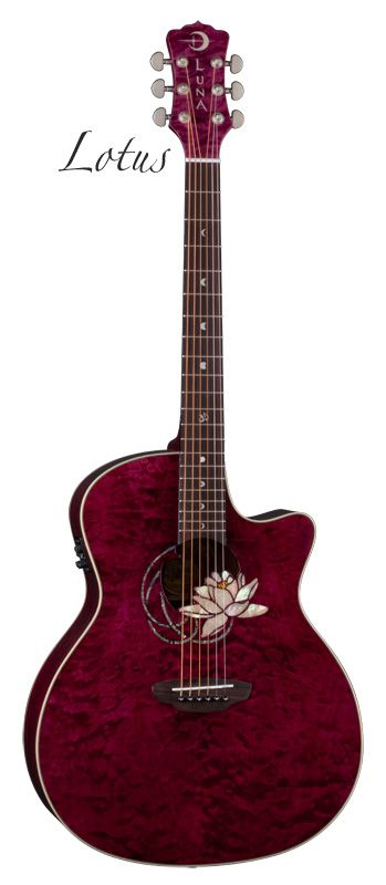 luna guitar - flora lotus. beautiful, inlaid mother-of-pearl phases of the moon on the frets, and 12th fret ॐ symbol..basically perfect.