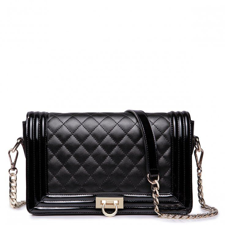 Builted Leather Black Clutch With Gold Chain