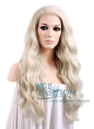 24 Quot Wavy Light Ash Blonde Lace Front Synthetic Wig Lf101