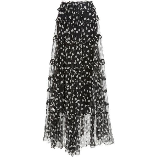 Mansfield Crinkle Silk Pom Pom Skirt With Slip   Moda Operandi ($510) ❤ liked on Polyvore featuring skirts