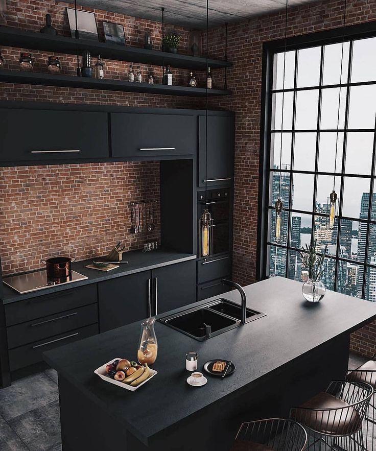"Interior Design Ideas on Instagram: ""Industrial Kitchen by Caroline Kincheski 😍  #kitchendesign #kitchen #industrial #industria"