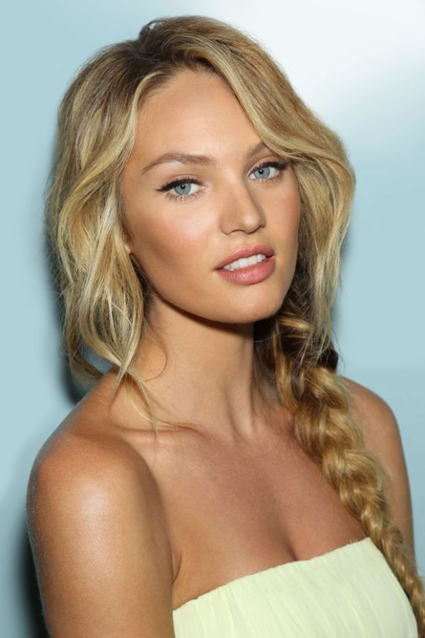Candice Swanepoel's centre part and loose braid. http://beautyeditor.ca/2015/03/12/hairstyles-for-double-cowlick
