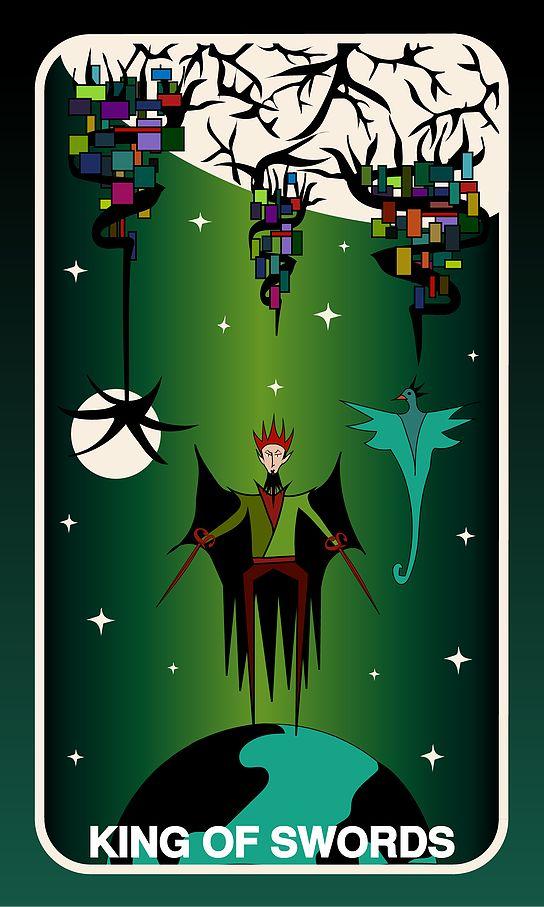 Tarot Card, King of Swords #swords #witch #gothic #king #illustration #tarotdeck #children #tales #space #adventure #starwars
