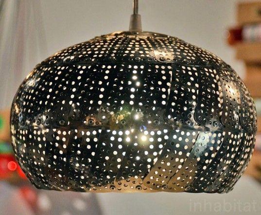 colander light, Nadia Belalia, colander lamp, green lighting, steampunk light,