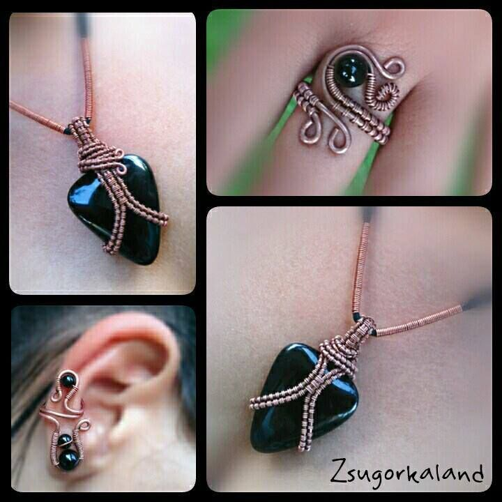 Jewelry set made of copper wire and onyx pearls. www.facebook.com/Zsugorkaland