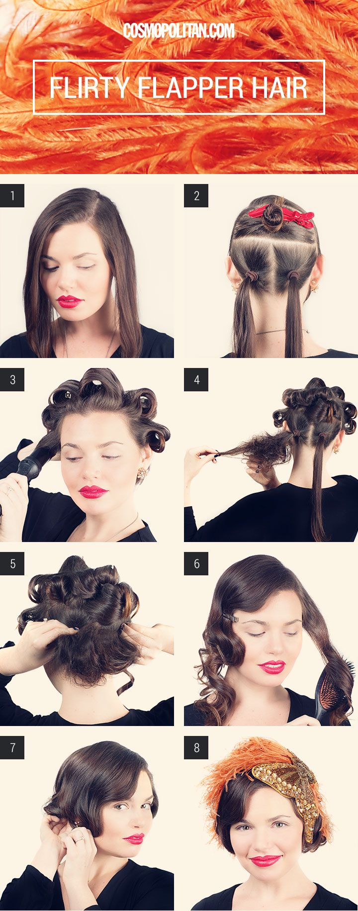 Step-by-step instructions for a faux-bob / flapper hair #Halloween http://www.cosmopolitan.com/hairstyles-beauty/beauty-blog/flapper-inspired-hair-tutuorial-for-halloween