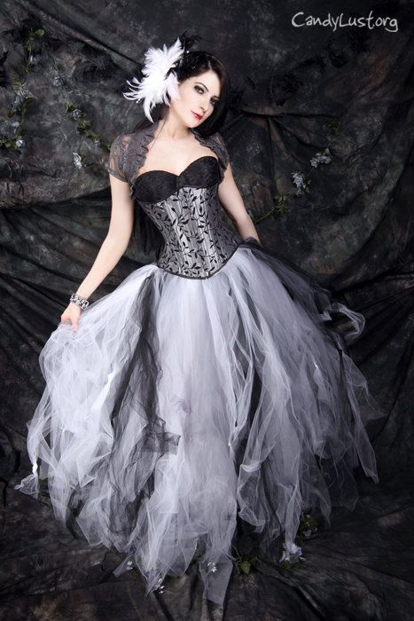 Gothic Bridal skirt floor length tulle tutu skirt in Black White and Silver any size MTCoffinz. $150.00, via Etsy.