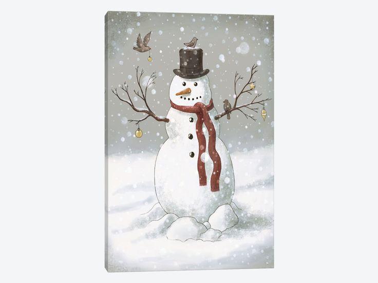 Christmas Snowman by Terry Fan 1-piece Canvas Wall Art