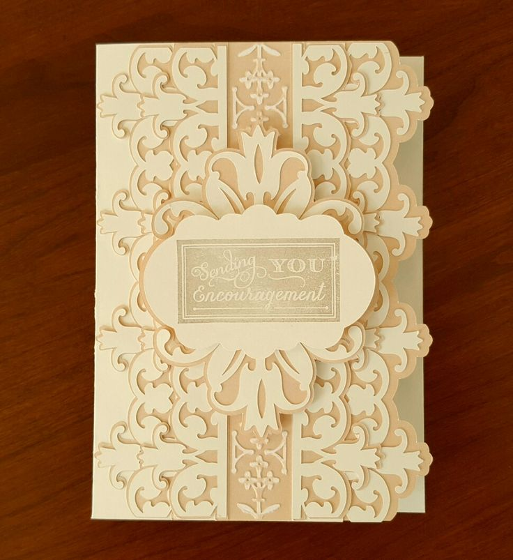 Card that I made from ivory and tan cardstock, Cricut cutting files from Anna Griffin Elegant Embellishments cartridge, AG Foundry embossing folder (sanded), AG chalkboard stamp, AG warm gray ink #AnnaGriffin, #CricutExploreAir #Cricut #Cuttlebug