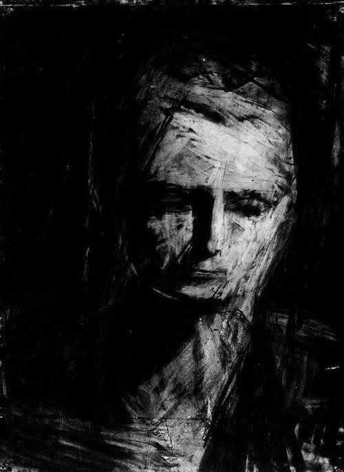 Frank Auerbach, charcoal on paper