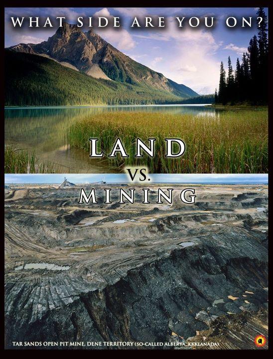 Tar sands open pit mine, Dene Territory Alberta Kkklanada vs Intact Natural Ecosystem