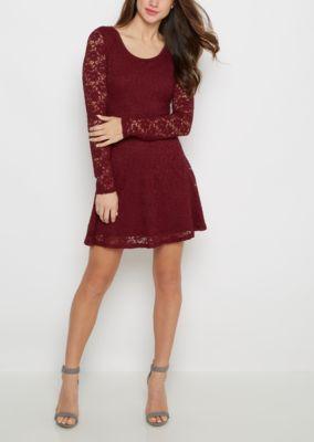 Burgundy Lace Long Sleeve Skater Dress   rue21