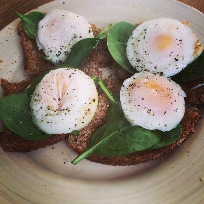 One of my fave breakfasts, poached eggs with spinach on wholemeal toast with lots of pepper!