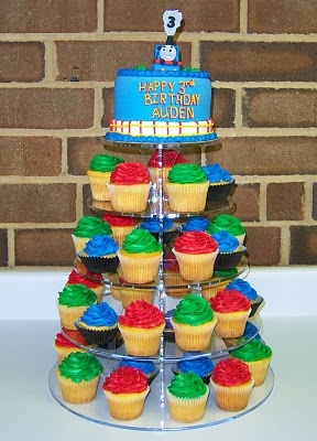 "thomas cupcakes....""red and green and brown and blue, they're the really useful crew."""