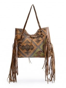 Brown-Grey Wool Jute Kilim and Leather Tote with Fringe