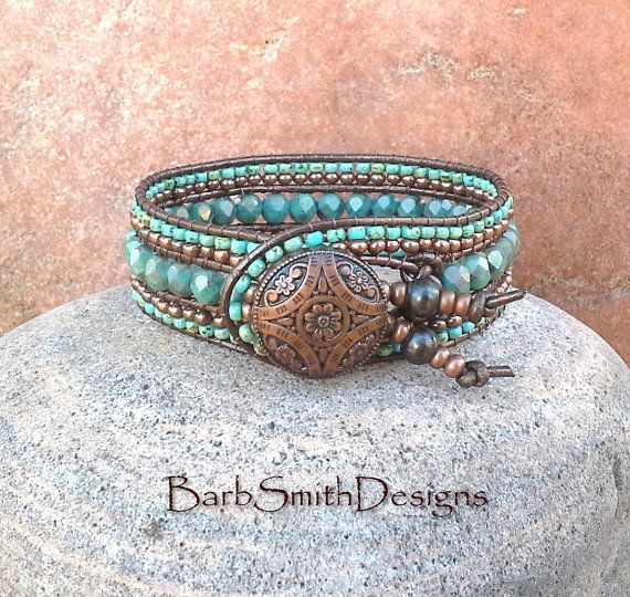 Copper Turquoise Beaded Leather Wrap Cuff Bracelet - The Indian Princess in Copper n' Turquoise - Custom Size It!