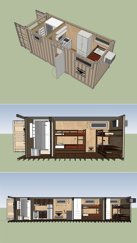 Shipping container design for worker housing.