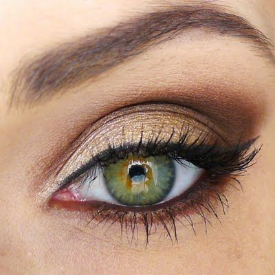 Create a neutral smokey eye with gold, bronze and chocolatey eyeshadows. This look is perfect for any occasion.
