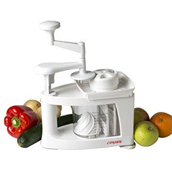 Cuisique Premium Quality Spiralizer is more than just a Spiral Vegetable Slicer, Raw Courgette Noodle or Spaghetti Maker - This Versatile 8 in 1 Food Cutter includes a Grater-Shredder, Juicer, Mandolin and also makes a perfect Julienne