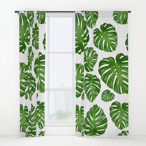 Monstera Leaf Window Curtains 50 X 84 Bedroom Window Curtains