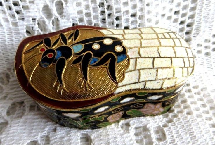 SMALL VINTAGE JING FA CHINESE CLOISONNE ENAMEL BOX CRICKET INSECT BUG & FLOWERS   | eBay