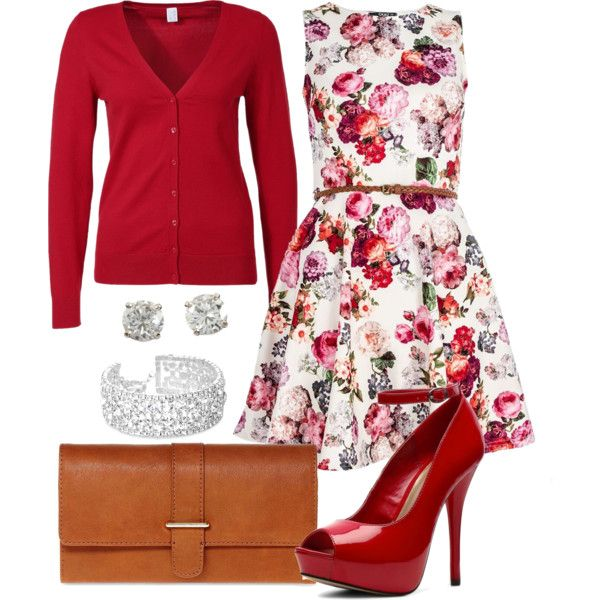 A fashion look from March 2014 featuring short dresses, red cardigan and heels & pumps. Browse and shop related looks.